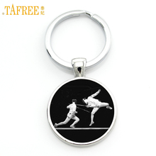 TAFREE Brand 2017 new Fencing sports keychain vintage fencer silhouette art key chain ring for men women club gifts jewelry SP70(China)