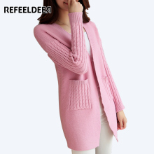 Refeeldeer Knitted Cardigan Women 2017 Spring Autumn Winter Casual Sweater Women Long Sleeve Long Cardigan Female Black Pink