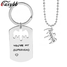 Caxybb Handstampe Jewelry Bat Keychain Dog Tag You're My Superhero Keychain Keychain Necklace Cutout Cutout for Daddy Sidekick(China)