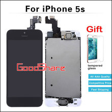 100% Work Perfect AAA LCD Full Assembly For iPhone 5s Touch Screen Digitizer Display Set+Home Button+Front Camera+Tempered Glass