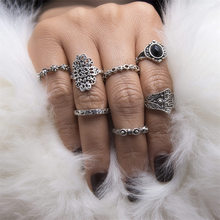 7PCS/Set Vintage Jewelry Tibetan Silver Color Stone Fatima hand Rings For Women/Men Bohemian Midi Ring Set 1156(China)