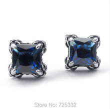 Mens Cubic Zirconia Stainless Steel Square Gothic Dragon Claw Stud Earrings Blue Red Silver(China)