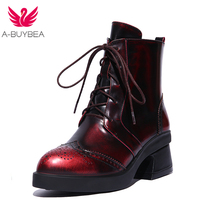 A-BUYBEA Women's Top layer leather cowhide leather,Round heel boots Polishing leather dress shoes, Russia size 34-39(China)