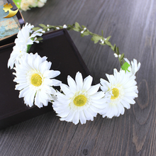 Princess Fashion White Bride Hair Accessories Floral Garlands Daisy Halo Wreaths Crowns Headwear Headdress Hairbands 58210