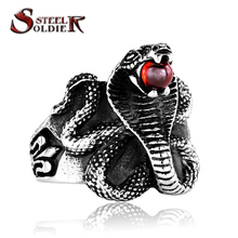 steel soldier Factory Price Cobra stainless steel Man ring Punk Heavy Metal ring Snake Jewelry