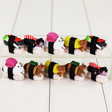 10pcs/lot Wasabi - Kitan Club Sushi Cat Mini PVC Figure Toy Meow Cute Cat Mascot Decorations Styles Collectible Model Dolls(China)
