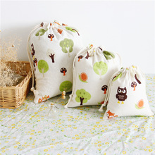 1pcs Owl Tree Pattern Drawstring Cotton Linen Storage Bag Gift Candy Tea Jewelry Organizer Makeup Cosmetic Coins keys Bags 49012