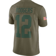 Men's Green bay Aaron Rodgers Olive Salute To Service Limited jerseys(China)
