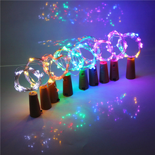 10Pcs/Lot 2M Battery LED Bottle Wine Cork String Light Christmas Silver Wire Fairy Lights For Wedding Party Christmas Decoration