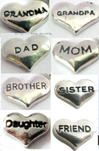 wholesales 10pcs mix Grandma Grandpa Dad Mom Brother Sister  Daughter Friend Floating Locket memory charms for locket as gift