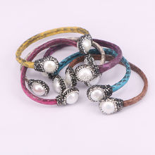 5pcs Natural Snakeskin Cuff Bangle With Natural Crystal Pearls Bangle Bracelet Mix Color Leather Bangle Gem stone Jewelry