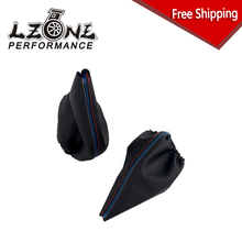 LZONE - FREE SHIPPING New For BMW 3 Series E36 E46 M3 Car Shift Gear Stick Manual Handbrake Gaiter Shift Boot Black Leather Boot