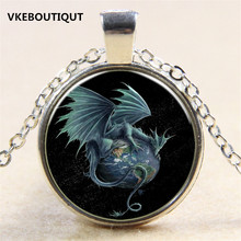 Hot! Star Air Fly Dragon Pendant Necklace Antique Silver/Bronze Chain Glass Necklace Vintage Jewelry Gift For Women Men(China)