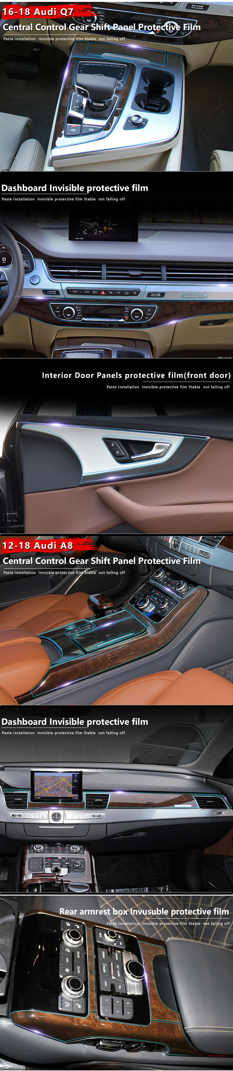Rear Trunk Paint Protection Clear Bra Film Cover for 2017 Audi A6 S6 Sedan