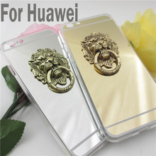 Holder Stand Phone Cases 3D Metal Lion Head Mirror case For Huawei P8 lite P8 for Huawei P9 P9lite Mirror Hard Back Cover Case
