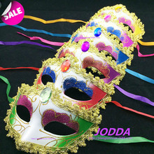 2016 fashion mask gold shining plated party mask wedding props masquerade mardi gras mask with Rhinestone Lace 6pcs mix color
