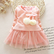2017 new fahsion warm o neck cute long sleeve Toddler Baby Girls Knitted O Neck Bow Tutu Princess Party Dress Clothes Outfits