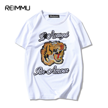 2017 New Summer Embroidered Tiger T shirt Men Famous Brand Camiseta Masculina Oversized 5XL Tshirts Cotton Men Brand-clothing