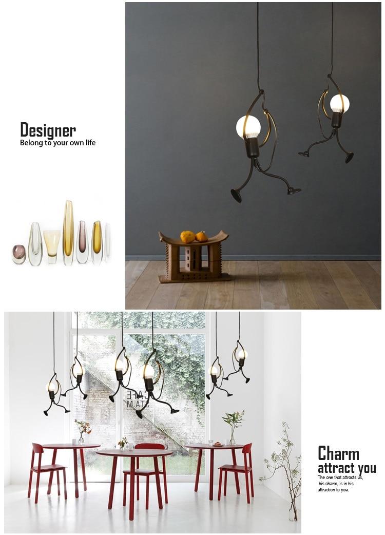 Novelty Pendant Lighting Fixtures Black Iron Dining Room Cafe Restaurant Lamps Modern Hanging Light Suspension Luminaire 3