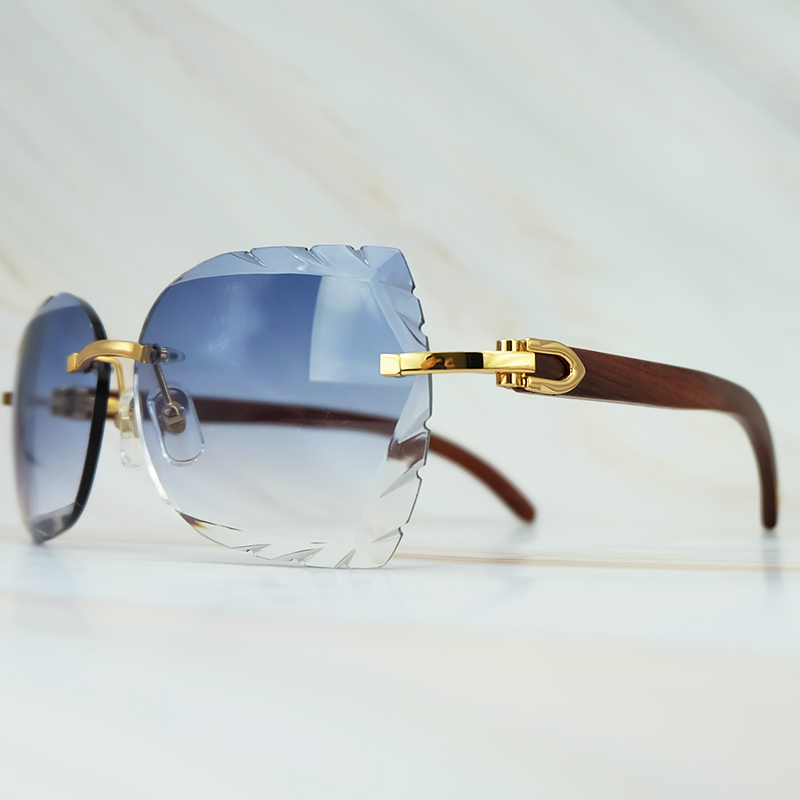 Rimless 3mm Thick Gradient Blue Lens Square Designer Brand Name Carter Sunglasses Wholesale Maroon Wood Sun Glass Wooden Shade (3)
