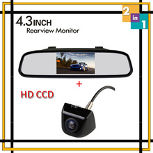 "Wholesale Wireless 4.3"" Color Tft Screen Car Mirror Monitor with 170 wide degree Mini CCD Backup Reversing Camera Parking Assist"