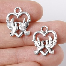 7pcs 15x19mm Zinc Alloy Antique Silver Loving Heart DIY Charms Pendants
