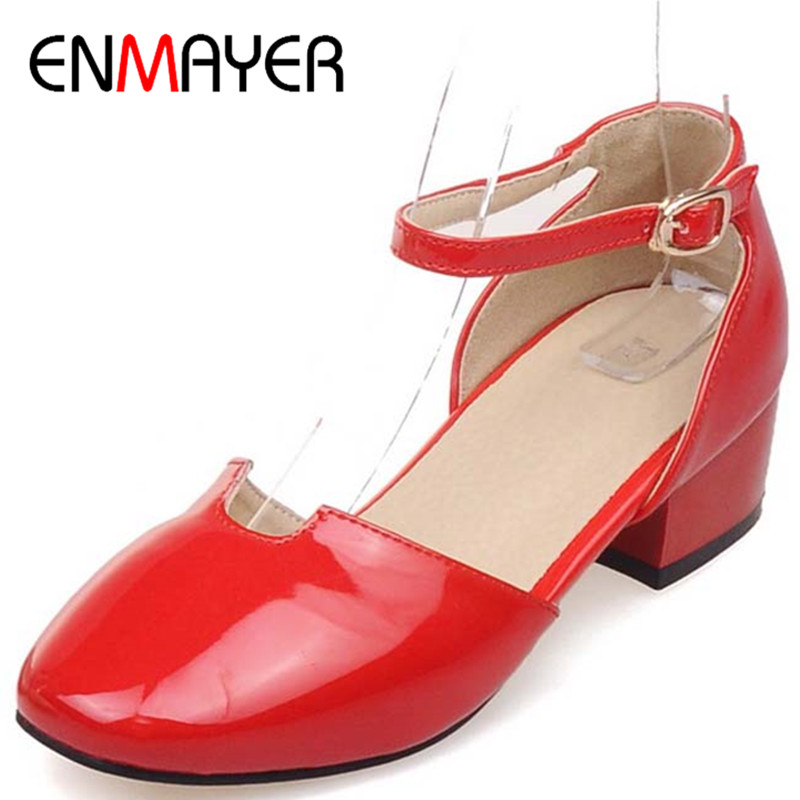 ENMAYER New Spring&amp;Autumn High Heels Square Toe Fashion Square Heels Pumps Shoes Woman Big Size 34-43 Women 3Colors Sweet Pumps<br><br>Aliexpress