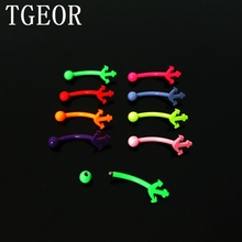free shipping Hot Fashion Charm 48pcs 16G mixed 8 colors Stainless Steel Anchor neon colors piercing eyebrow ring(China)