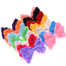 7PCS Rosette Bow triplex Row Chiffon Rose classic flower bowknot solid hair bows newborn hair bows accessory Without Clips(China)