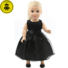 American Girl Dolls Clothing Baby Doll Accessories Elegant Black Bow Belt Princess Skirt Doll Clothes of 18 inch Doll MG-114(China)