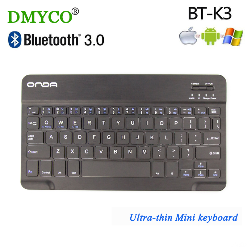DMYCO Ultra Slim Mini K3 Wireless Bluetooth Max 10m keyboard multimedia teclado 7 inch QWERTY 59 Keys Keyboard For Tablet Laptop(China)