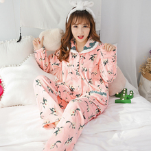Autumn Winter Women's Set Flannel Print Flower Pajamas Sets Sleepwear Home Clothes(China)