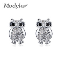 2017 Modyle fashion girls silver Owl earrings for elegant women party Nickeless wholesale(China)