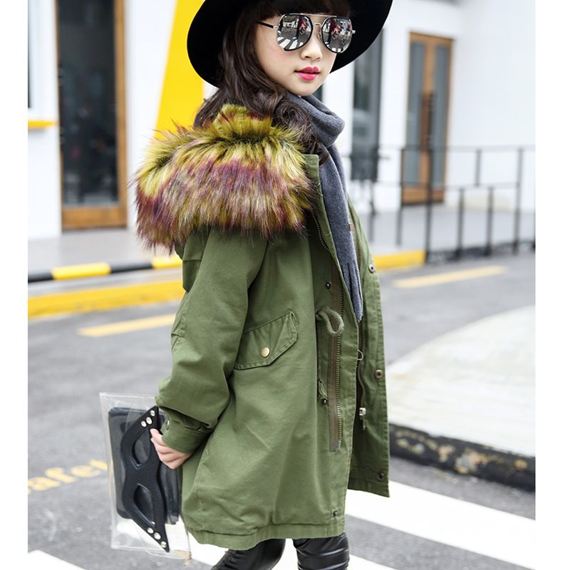 2016 New Fashion Girl Autumn Winter Coat Children Heavy Hair Collar Cotton-Padded Clothes Thicken Army Green Kids Clothes HL0818Одежда и ак�е��уары<br><br><br>Aliexpress