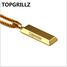 TOPGRILLZ Male Style Personality Trend Gold&Silver Color Plated Brick Pendant Necklace Men Women Hip Hop Rock Jewelry