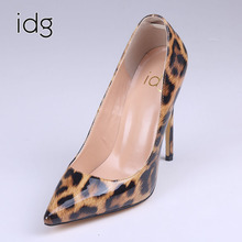 Idg Brand Women's Singles Shoe Sexy Leopard High-heeled Shoes Shallow Mouth Sharp Original Manual Major Suit With Fund(China)