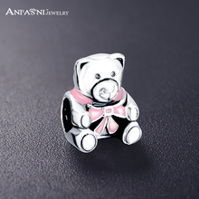 ANFASNI 925 Sterling Silver Teddy Bear Charm Pink Enamel Charm Fit Original Bracelets Jewelry Accessories PSMB0556