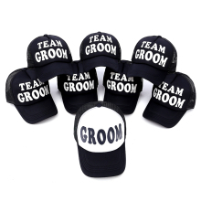 2017 new GROOM & TEAM GROOM men wedding Baseball Cap Hat black with  Print Stag Do Party Hats