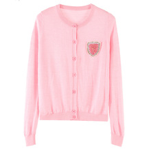 Soft cherry pink cashmere cardigan female breast shield sweater coat all-match air conditioner(China)