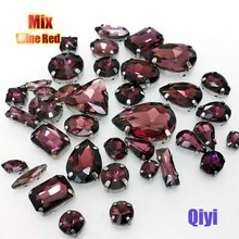 Sell at a loss! 50pcs/bag high quality mixed shape Wine red glass sew on claw rhinestones,diy clothing accessories SWM08