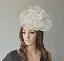 Cream ivory Big Sinamay  fascinator hat with feather flower for Ascot Races, kentucky derby ,Melbourne Cup,Wedding.