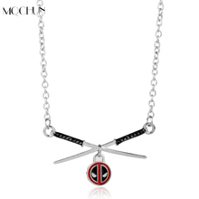 MQCHUN Jewelry Movie Anime Deadpool mask Super Hero Sword Pendant Necklace Deadpool Choker Necklace Metal Men Women Gift