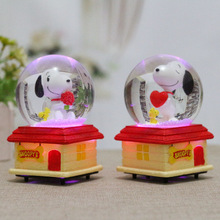 Creative Snoopying Gifts  Cartoon Lamp Crystal Ball Music Box Home Furnishing Creative Arts and Crafts Ornaments Wholesale