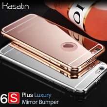 2017 Rushed Luxury Brand Rose Gold Mirror Bumper Case For Apple iPhone 6S Plus Aluminum Protection Cover 6 S Plus 5.5 With Logo