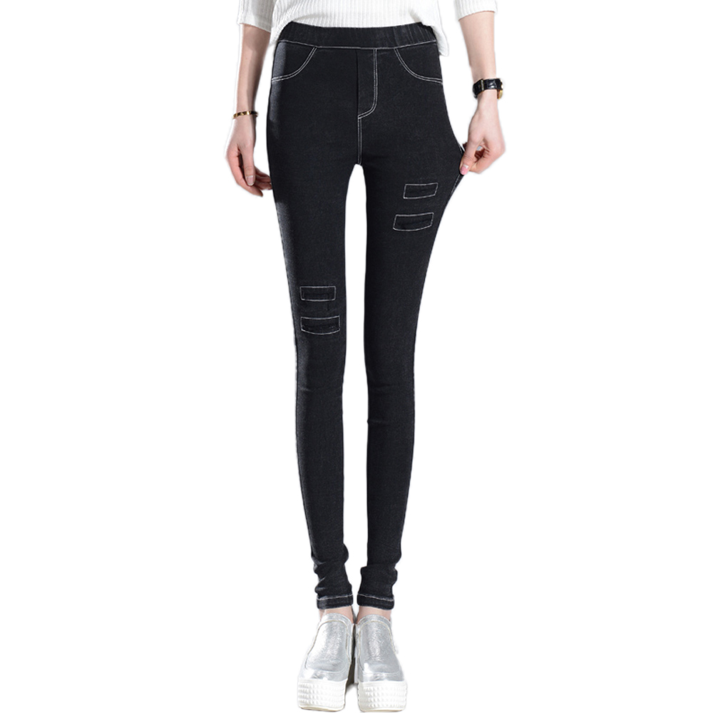 Womens Fashion Elastic Waist Slim Pencil Pants Jeans Female Sexy Black Personality Patch Denim Washed Stretch Leggings TrousersОдежда и ак�е��уары<br><br><br>Aliexpress
