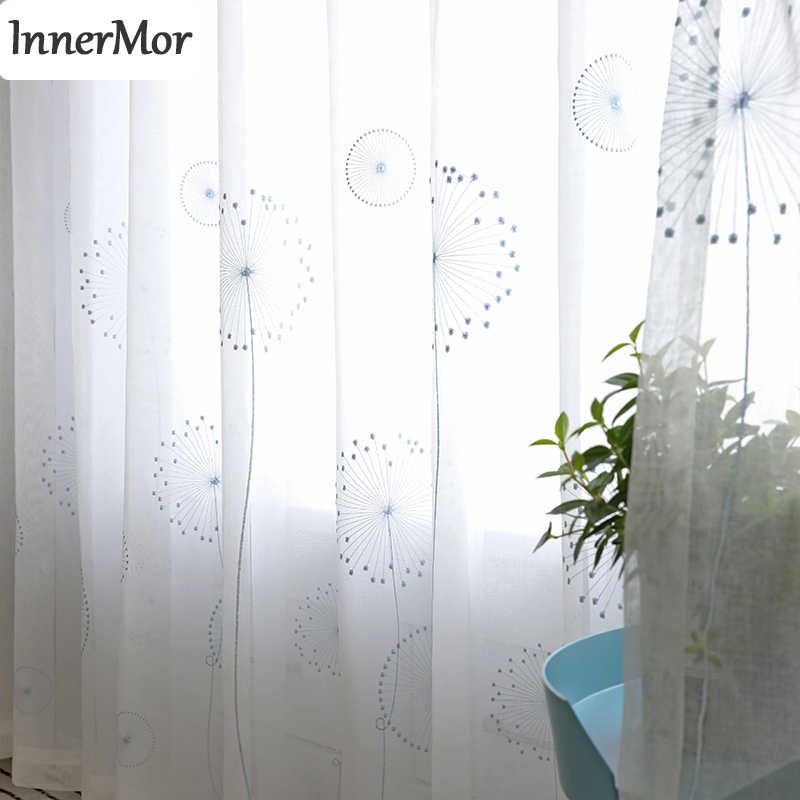 Innermor White Jacquard Curtain For Living room Dandelion tulle  for bedroom Voile Faux Linen Sheer for  kitchen Customized