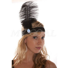 Feather Headband 1920's Flapper Sequin Charleston Costume Headband Band Party