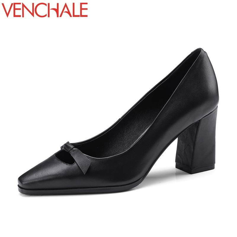 VENCHALE 2018 square toe comfortable spats bowtie decoration office lady shoes genuine leather appointment sweet woman pumps