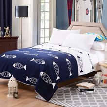 Towel Blankets Fish Pattern blue summer Throws 100% cotton 3-layers Gauze 150x200cm 200x230cm sofa bedding Bedsheet Coverlets(China)