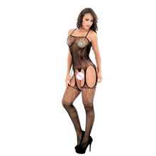 Buy Lady Sexy Lingerie erotic Fishnet Body Stocking Open Crotch Sex Products Women Black Underwear Slips Intimates Dress W1507